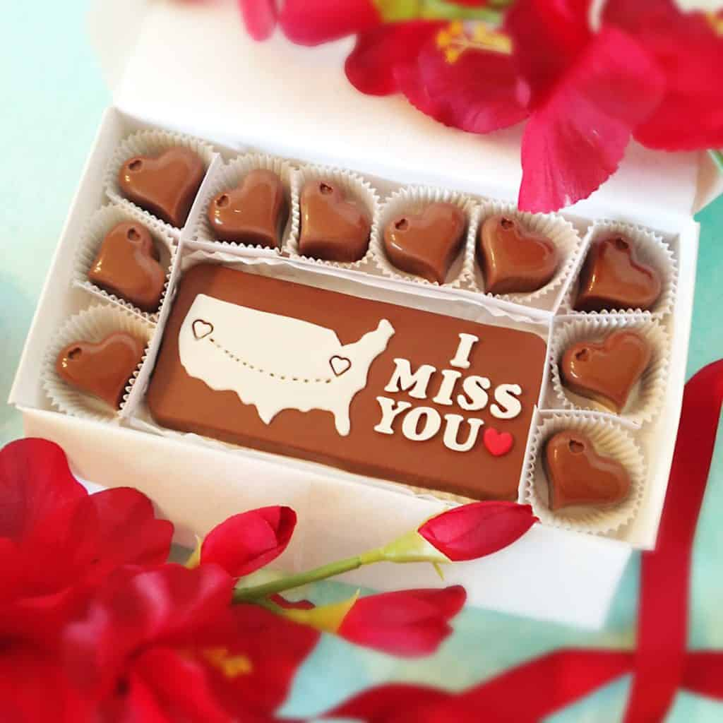 valentines gift for long distance boyfriend: Personalized I Miss You Chocolates