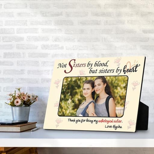 Sisters By Heart Desktop Photo Plaque - ideas for your sister in law