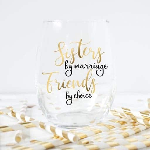 Sisters By Marriage Wine glass - sister in law gifts
