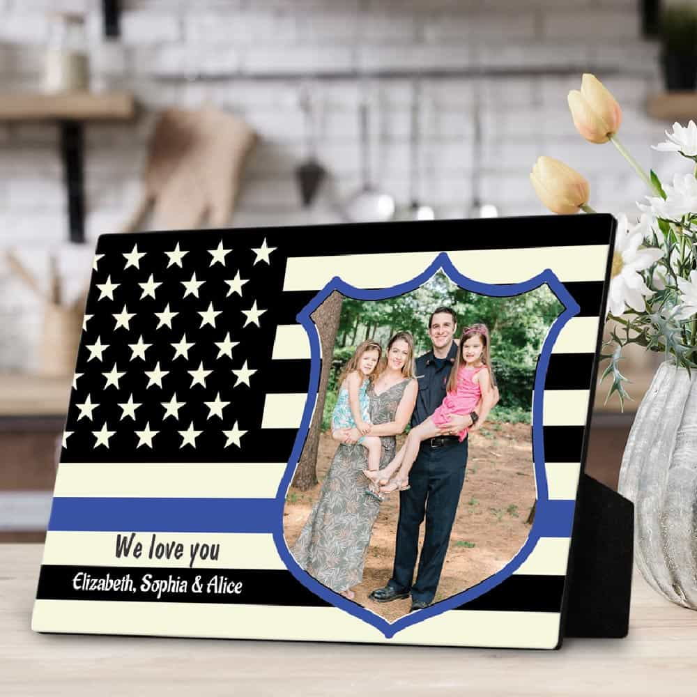 Thin Blue Line Desktop Photo Plaque - Birthday Gift For Police Dad