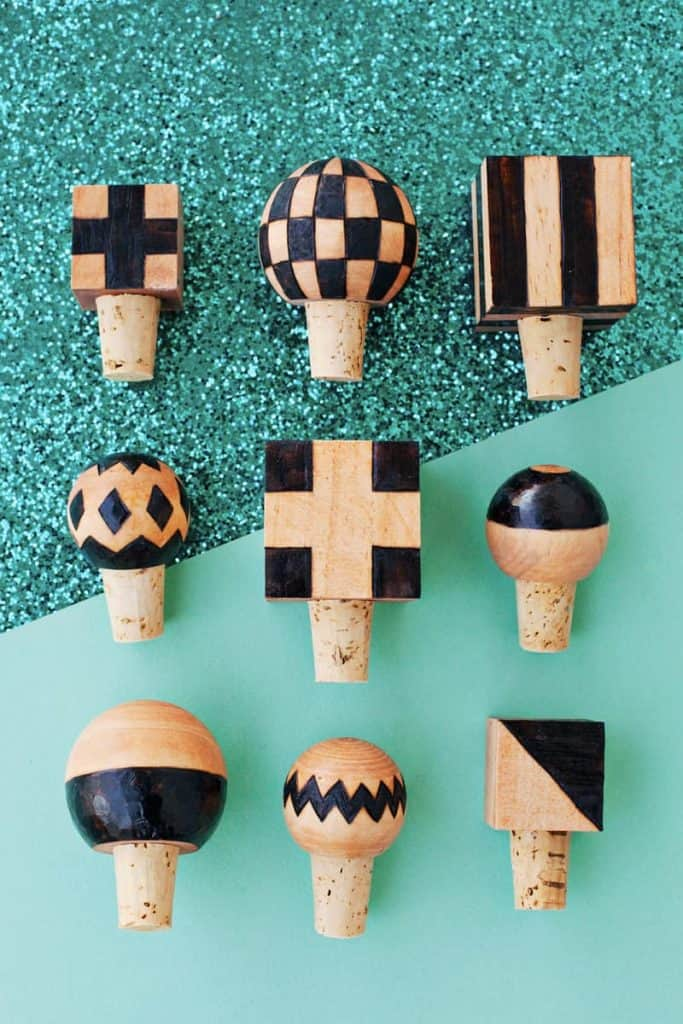 creative anniversary gifts for him: Wood burned bottle stoppers