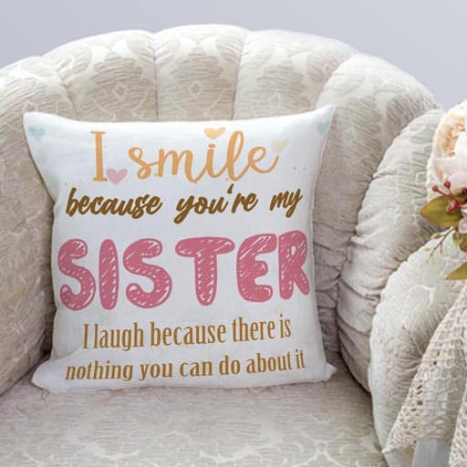 You're My Sister Suede Pillow - gifts for future sister in law