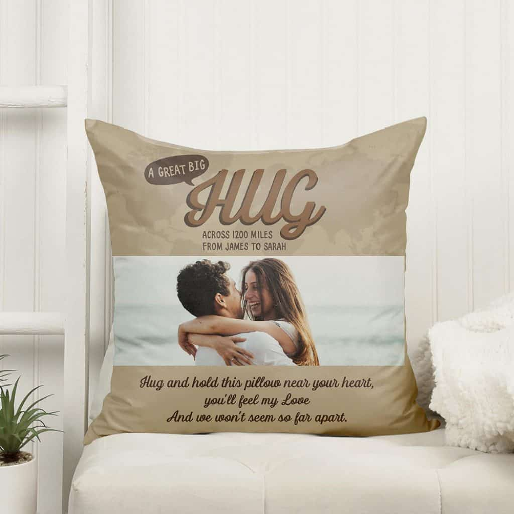 long distance valentines day gifts: a great big hug custom pillow