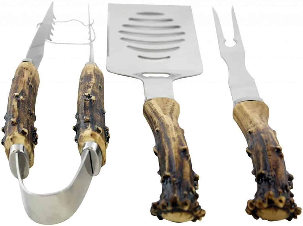 hunting gifts for dads: antler handle grilling set