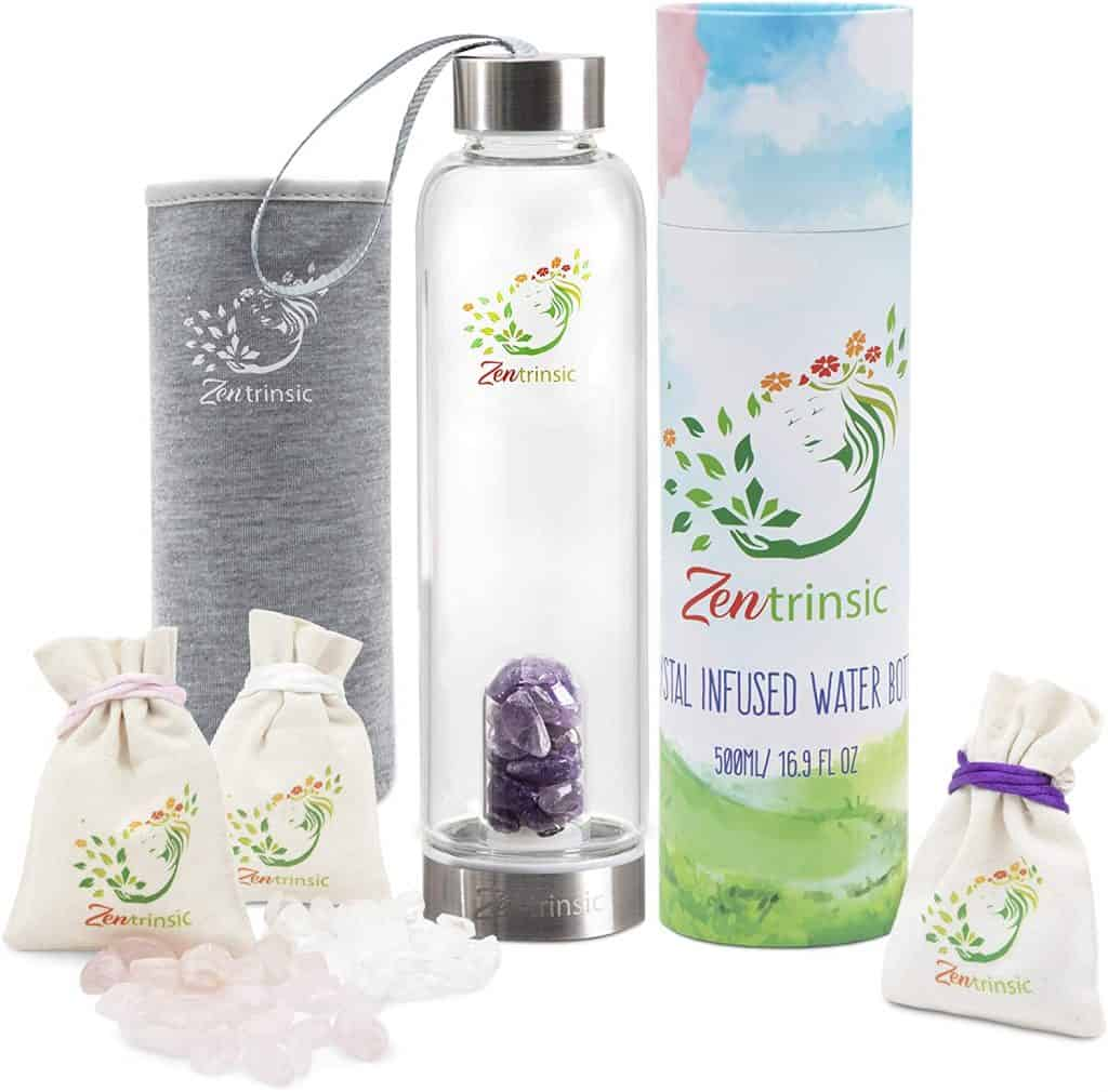 gifts for the woman who has everything: crystal infused water bottle