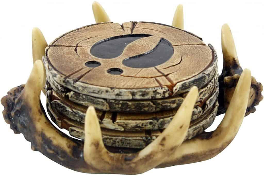 gift ideas for hunters: deer antler coasters