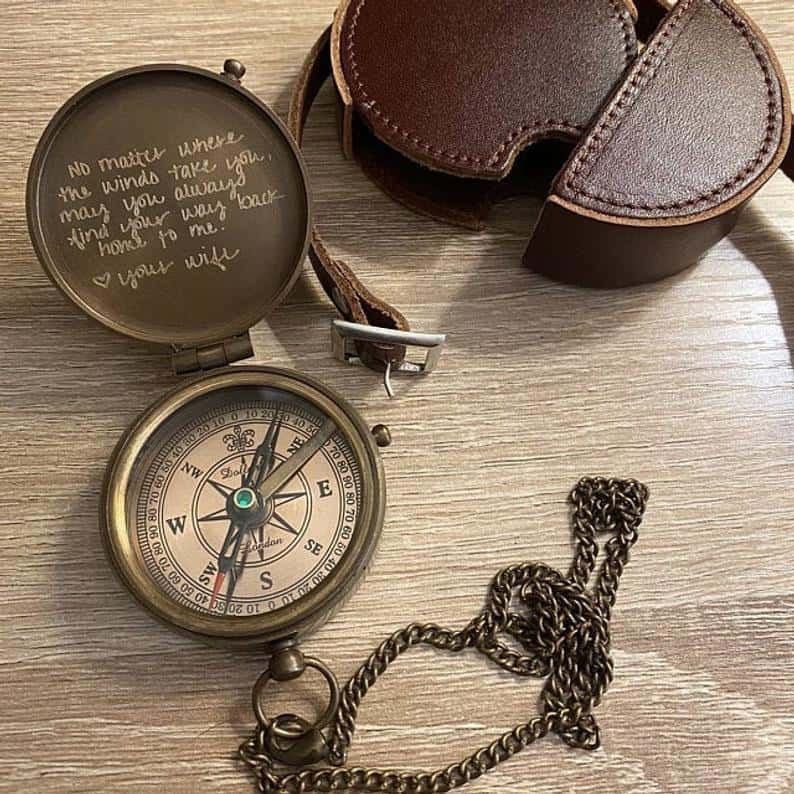 valentines day gift for him: engraved compass