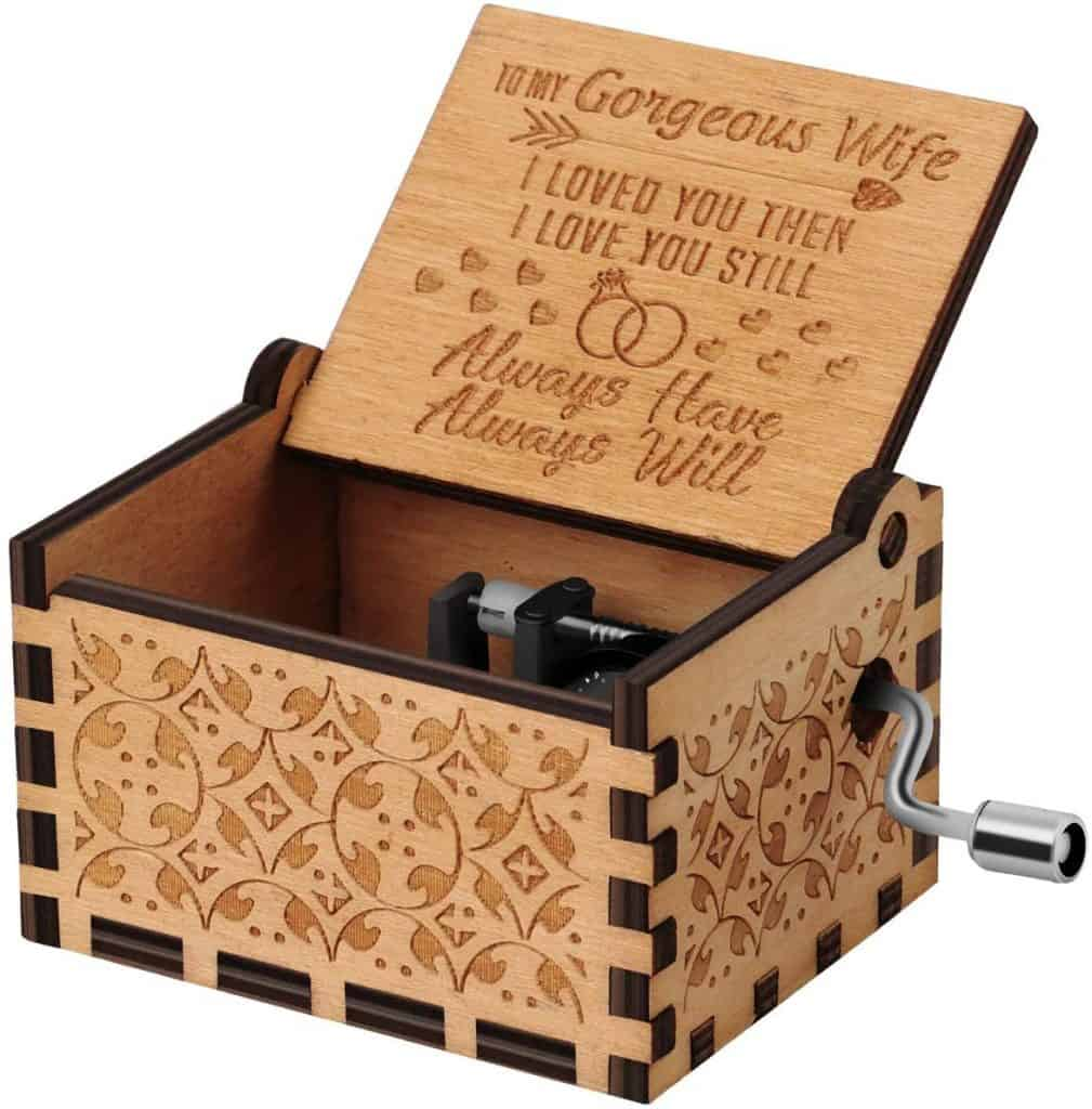 romantic gifts for wife: engraved music box