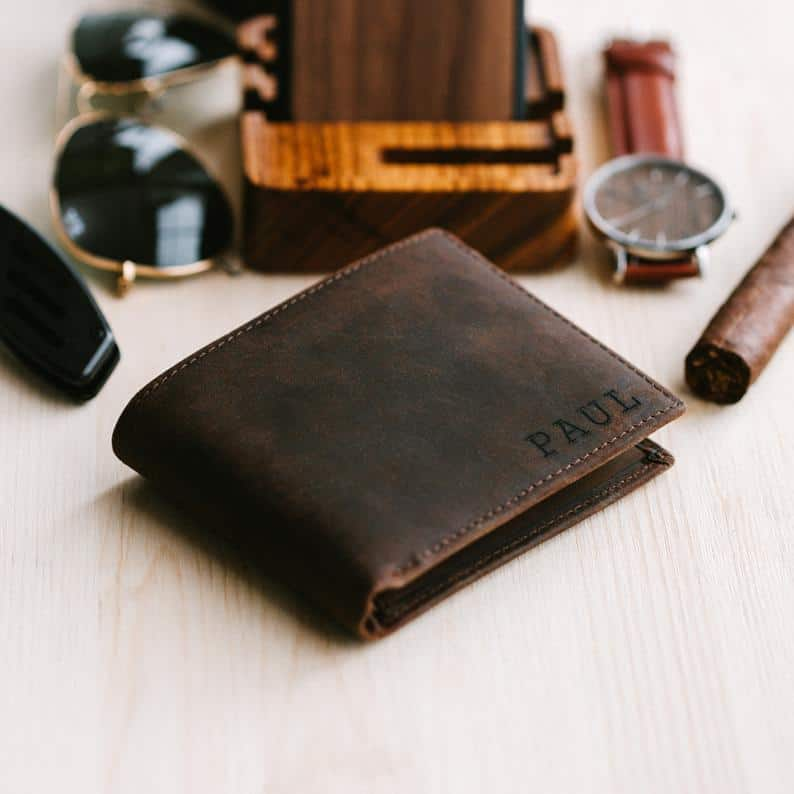 long distance valentines day ideas for him: engraved wallet