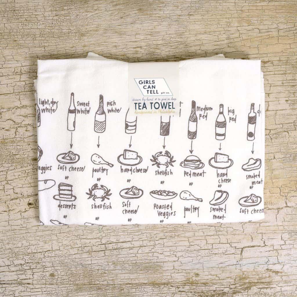 cool wine gifts: food and wine pairing tea towel