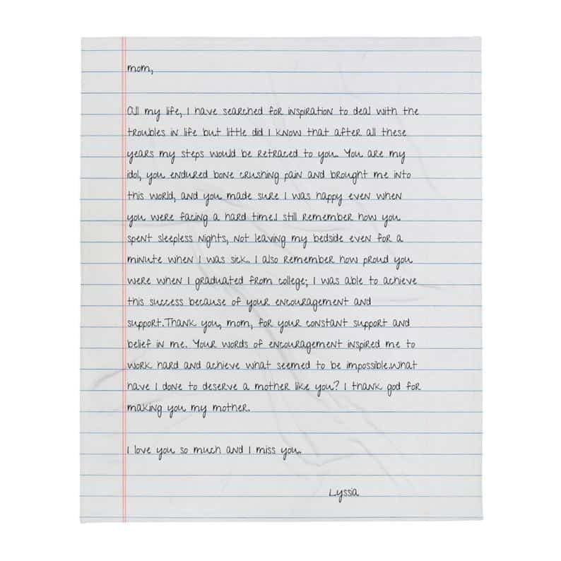 gifts for the woman who wants nothing: custom handwriting blanket