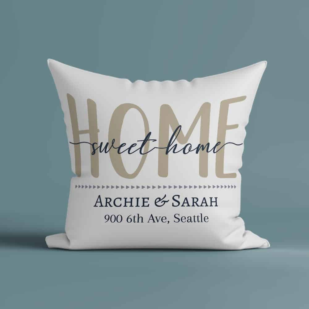 home sweet home personalized pillow with custom home address