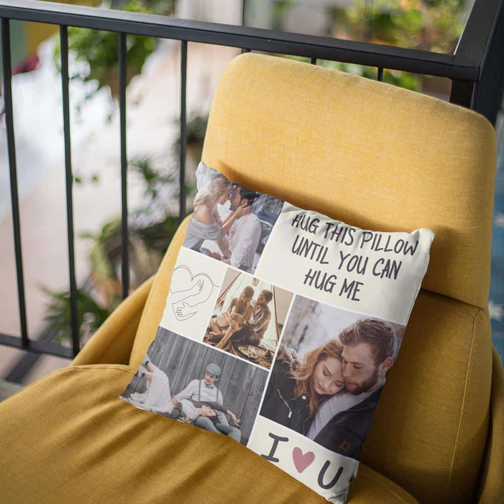 valentine's gifts for him long distance: hug this pillow until you can hug me custom photo pillow