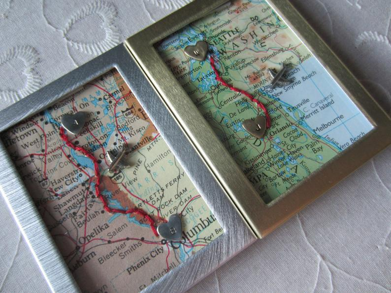 long distance valentines day gifts: maps in frame
