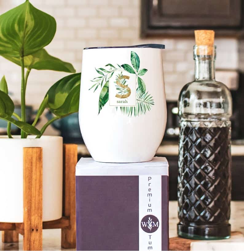 gifts ideas for wine lovers: monogram wine tumbler