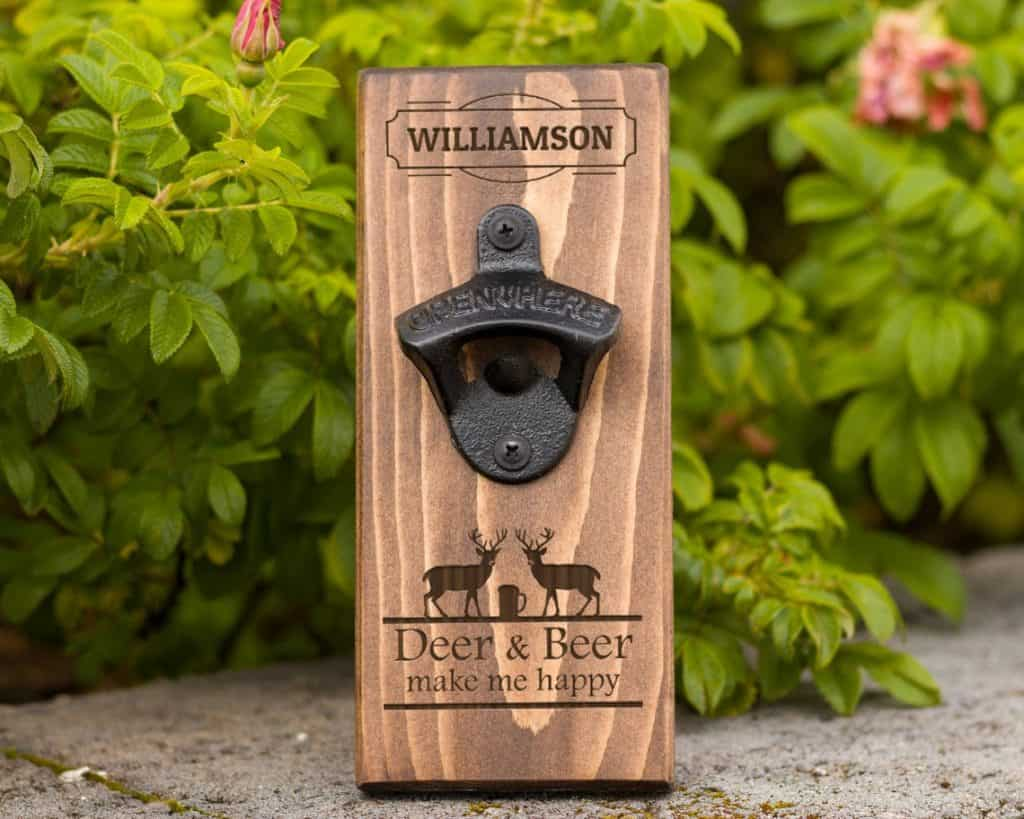 gifts for hunters who have everything: personalized bottle opener