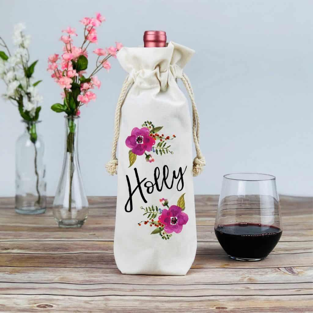 wine related gifts: personalized wine tote
