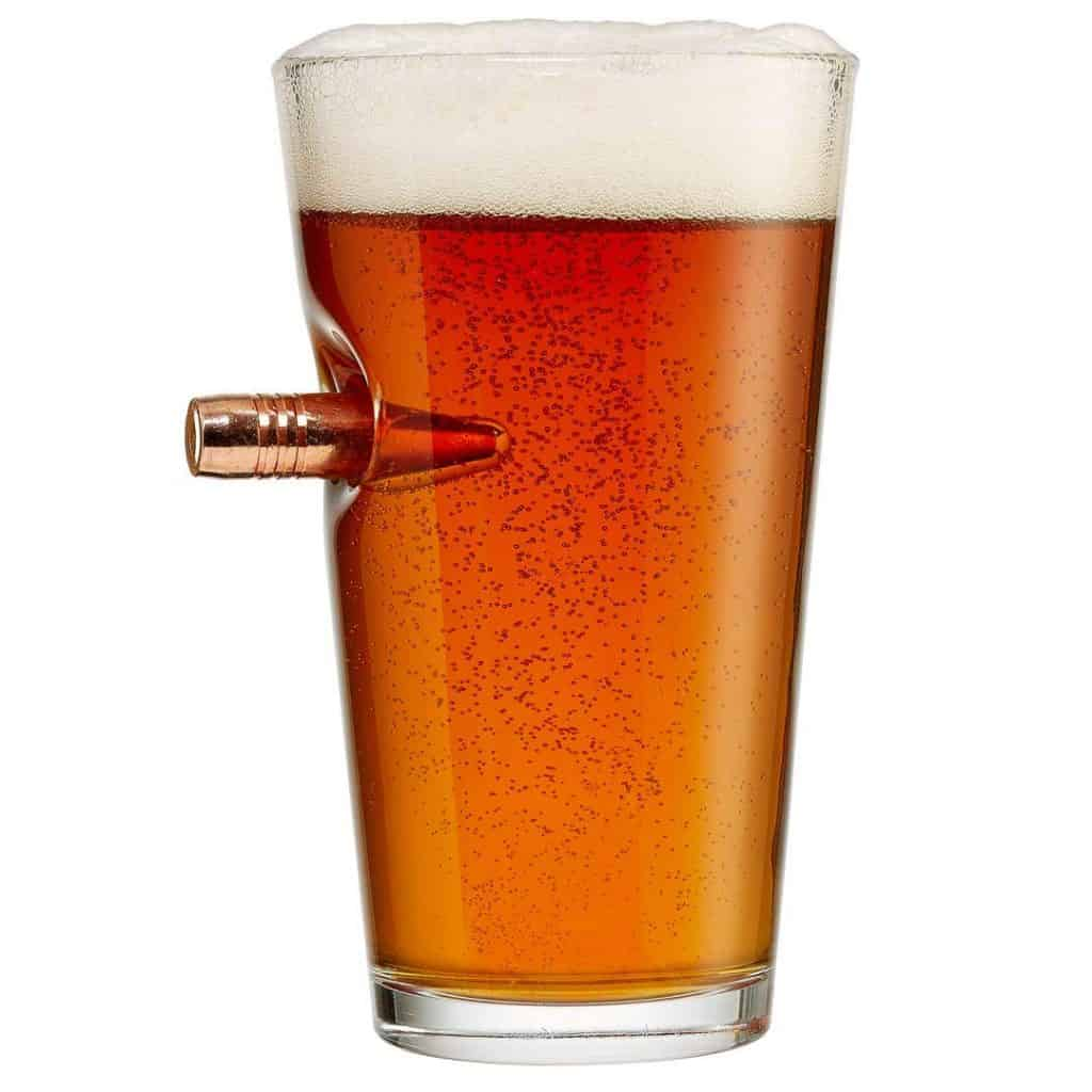 beer gift for him: pint glass with bullet