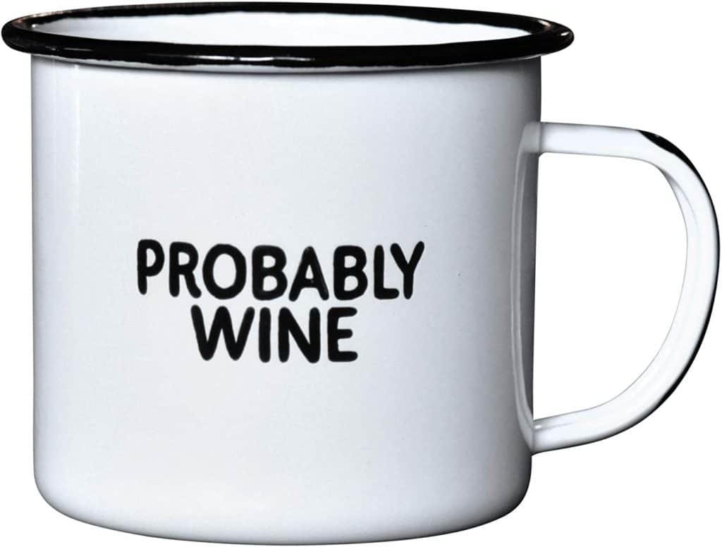 wine enthusiast gifts: probably wine enamel mug