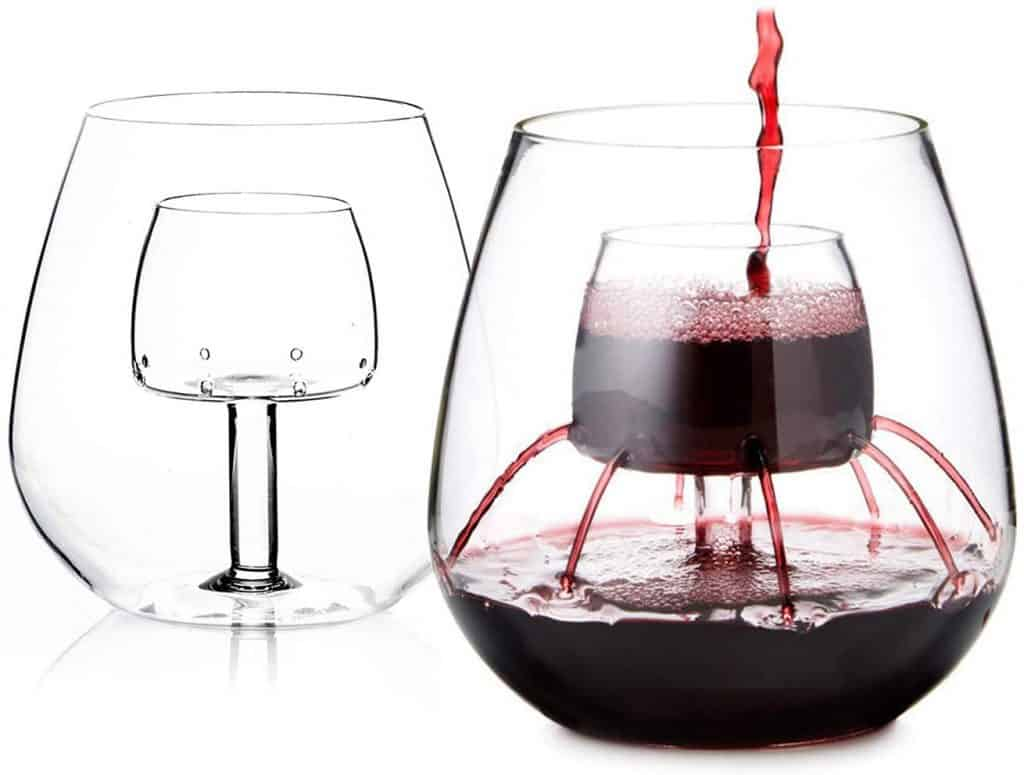 gift ideas for wine lover: stemless aerating wine glass