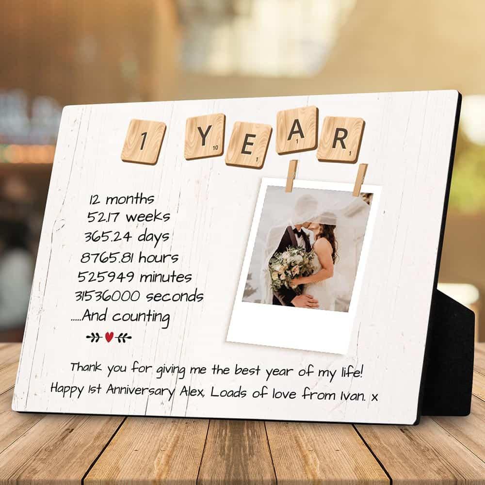 1 Year Anniversary Custom Desktop Photo Plaque Anniversary Gift For Boyfriend