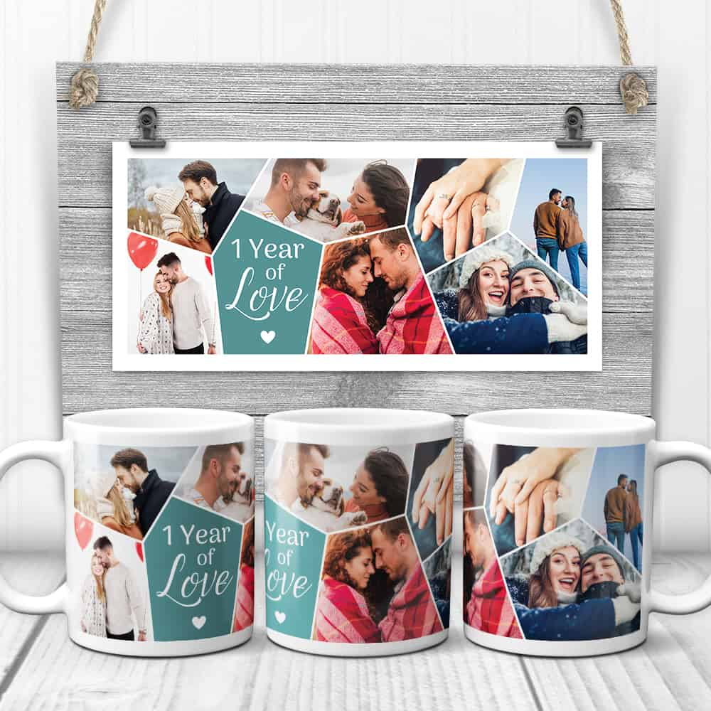 1 Year Together Photo Collage Mugs – First Anniversary Gift