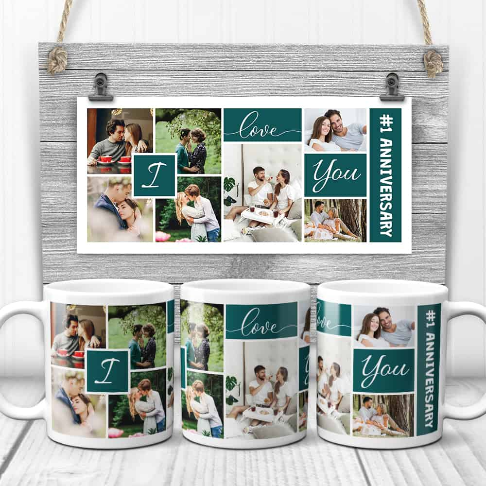 a photo collage mug as 1st year dating anniversary gift for boyfriend