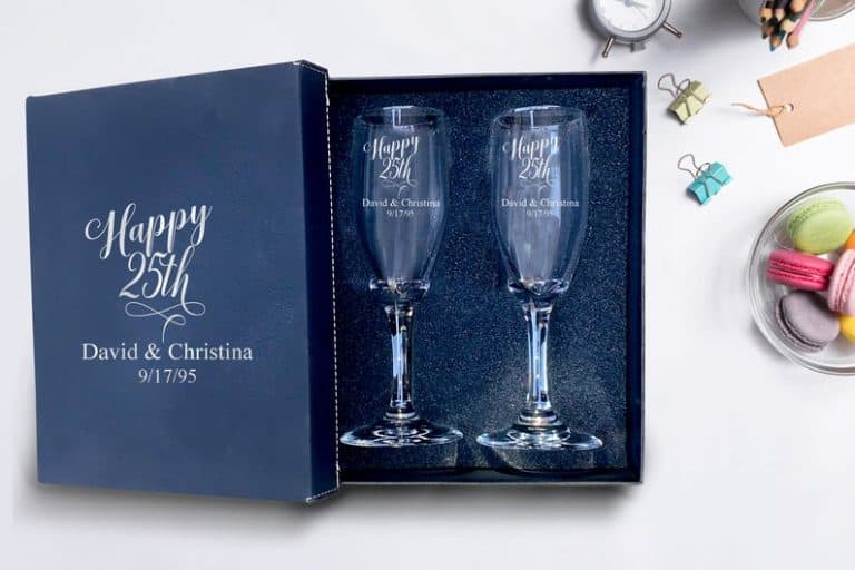 Set of 2 champagne flues, 25th anniversary gifts
