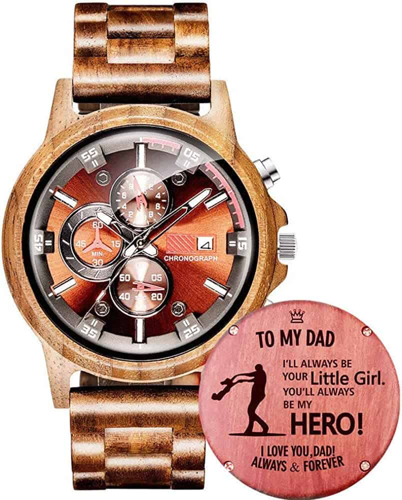 Customized Engraved Wooden Watch For Dad from Daughter