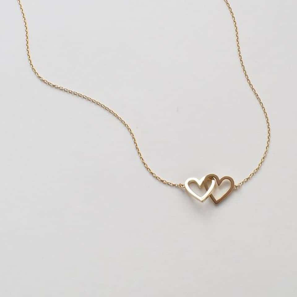 Double Heart Necklace - valentine day gift guide
