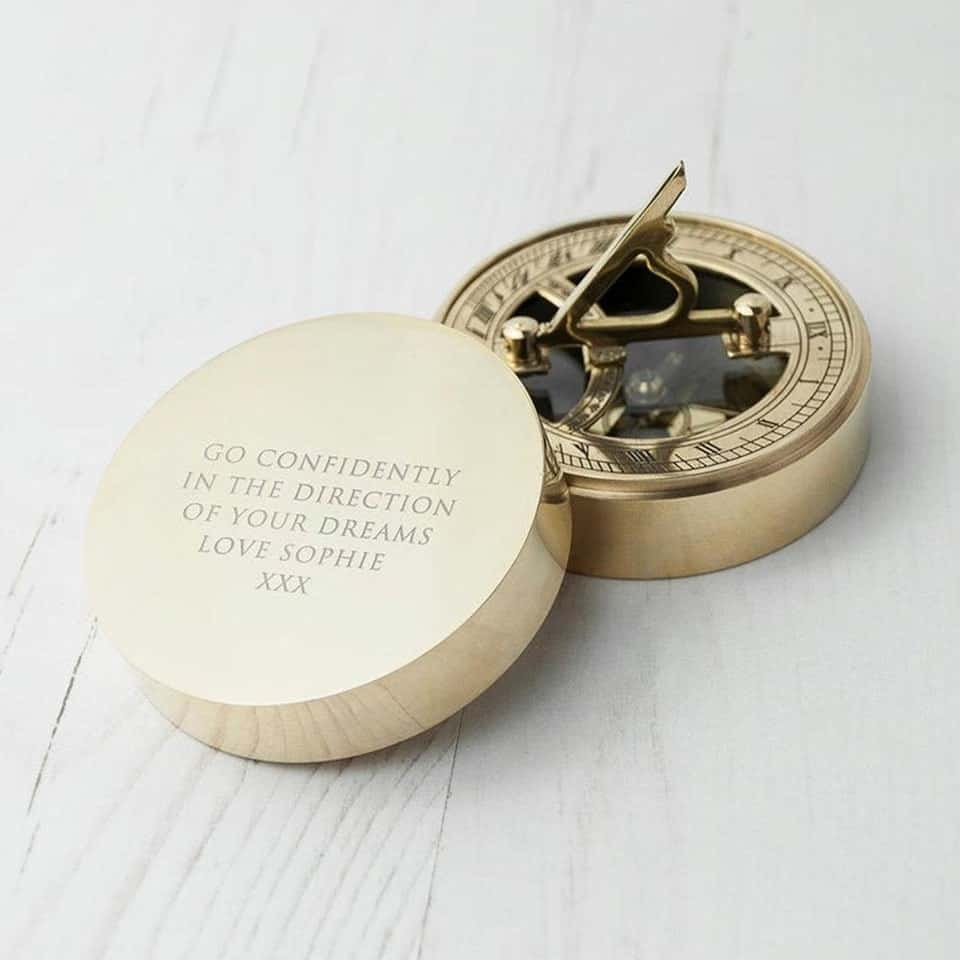 Engraved Compass - graduation presents for her