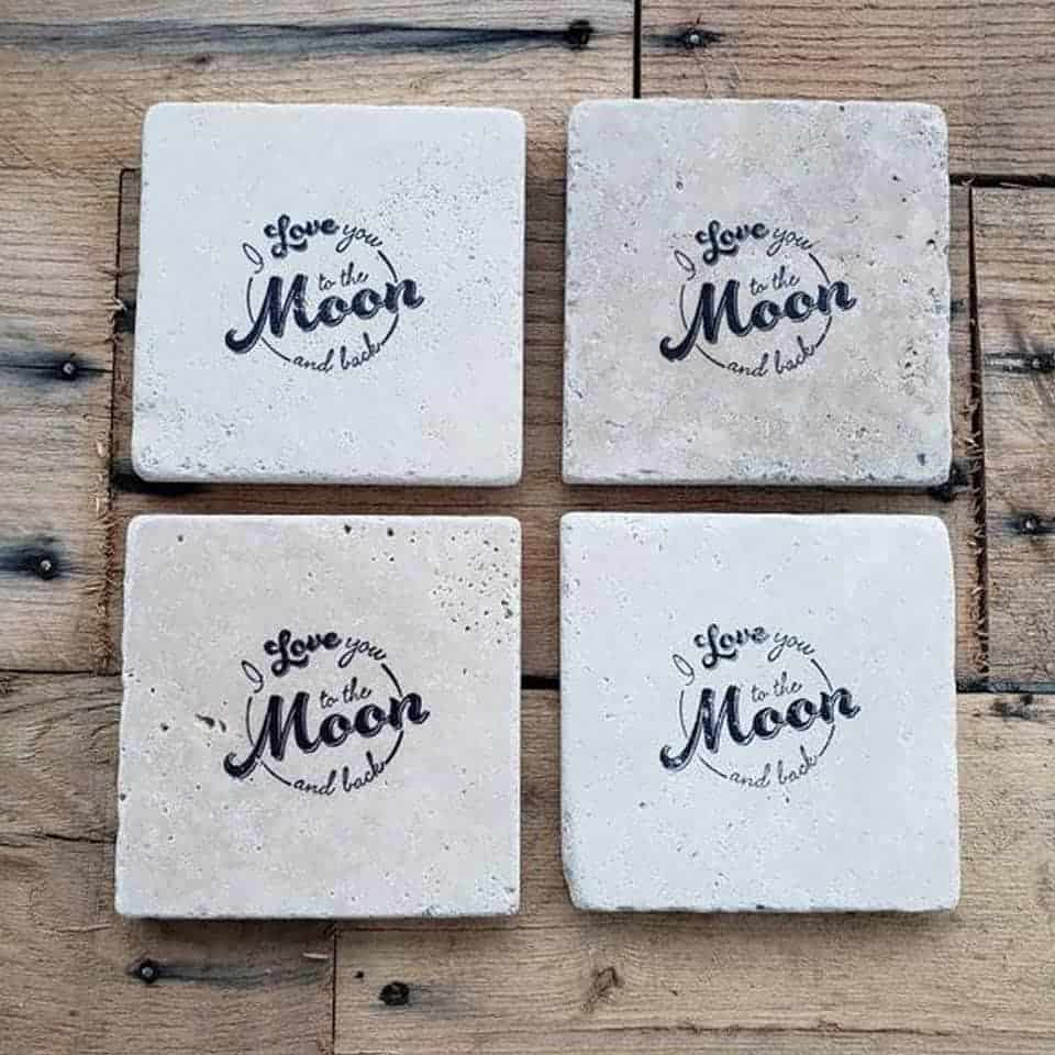 I Love You to the Moon and Back Stone Coaster