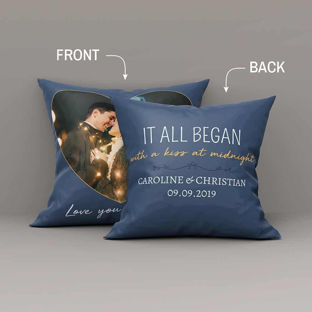 It All Began With Pillow With Custom Text And Photo - 1 year Anniversary Gift for Boyfriend