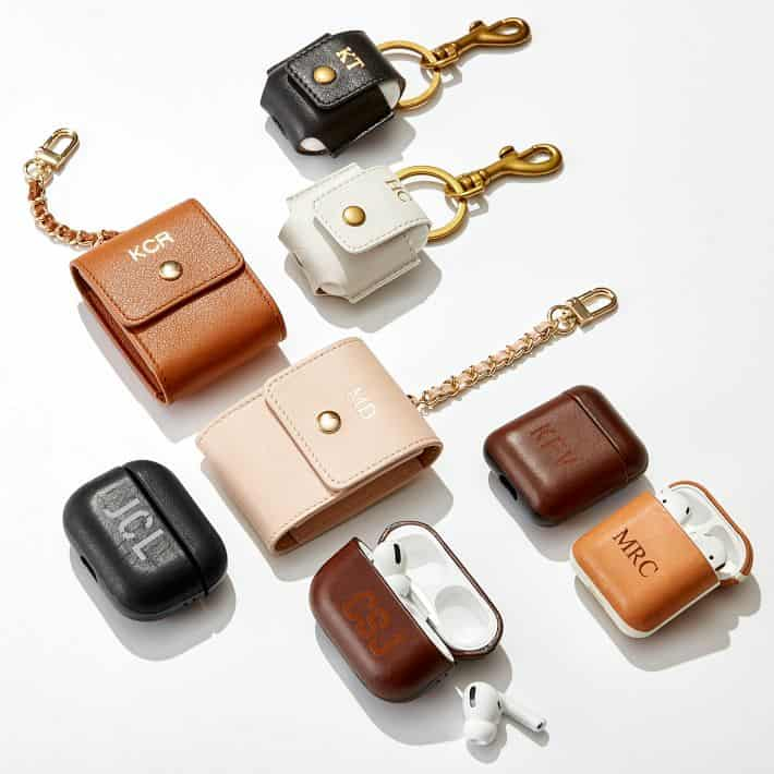 Monogrammed Leather AirPod Case Keychain