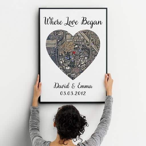 One Heart Satellite Map Canvas Print - non cheesy valentines day gifts for him