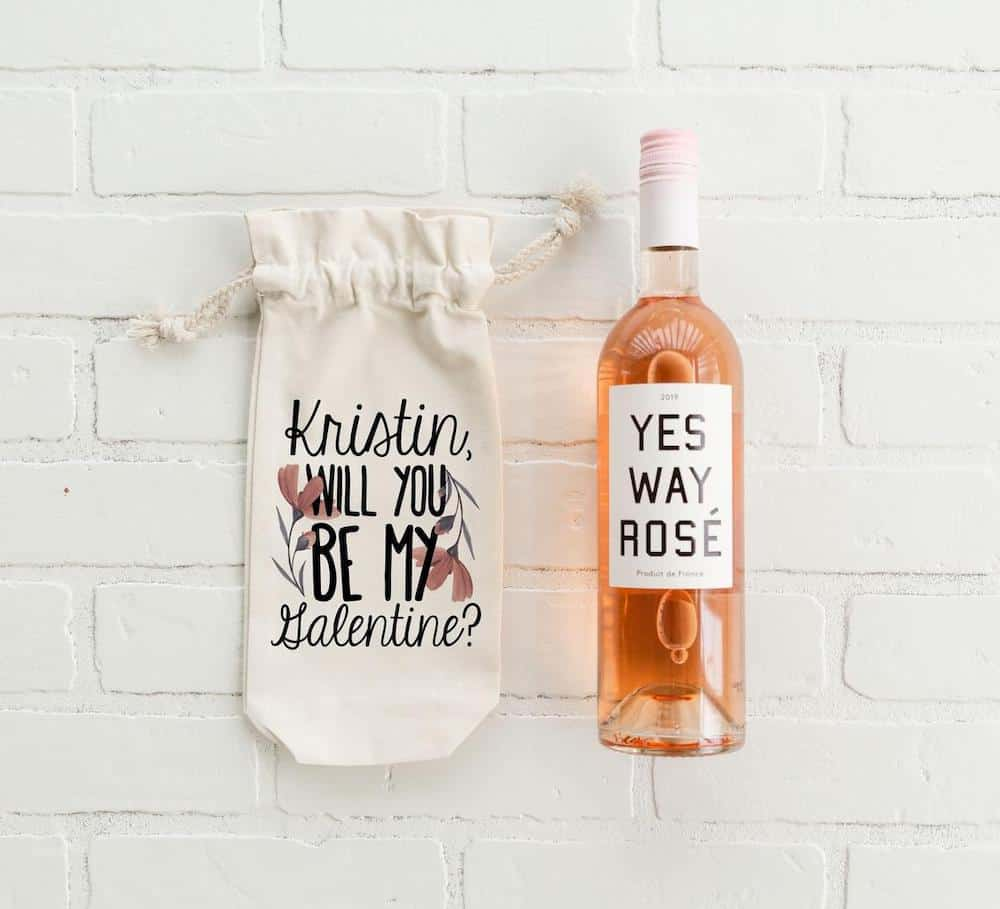 Will You Be My Galentine Personalized Wine Tote