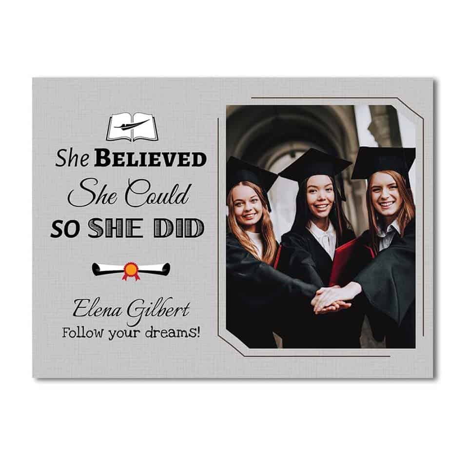 She Believed She Could So She Did Canvas - female graduation gifts