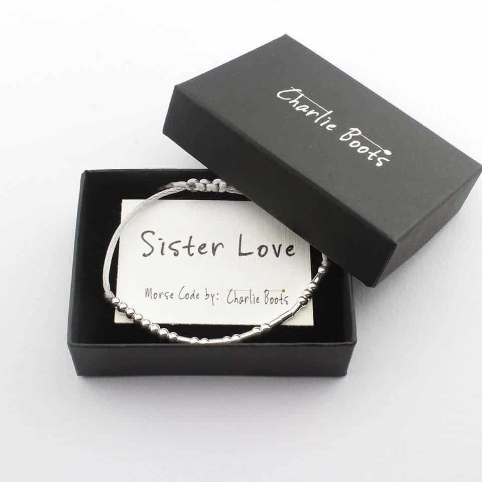 Sister Love Morse Code Bracelet - female graduation gifts