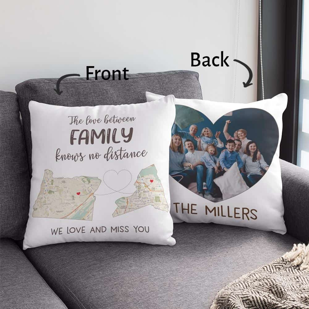 valentine's day gifts for dad: custom state map photo pillow