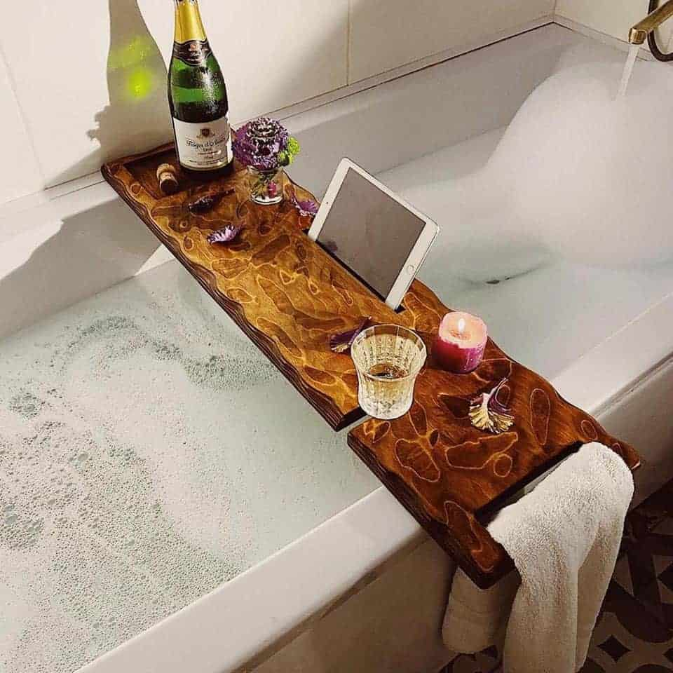 Wood Bath Tray - things to get your woman for valentines day