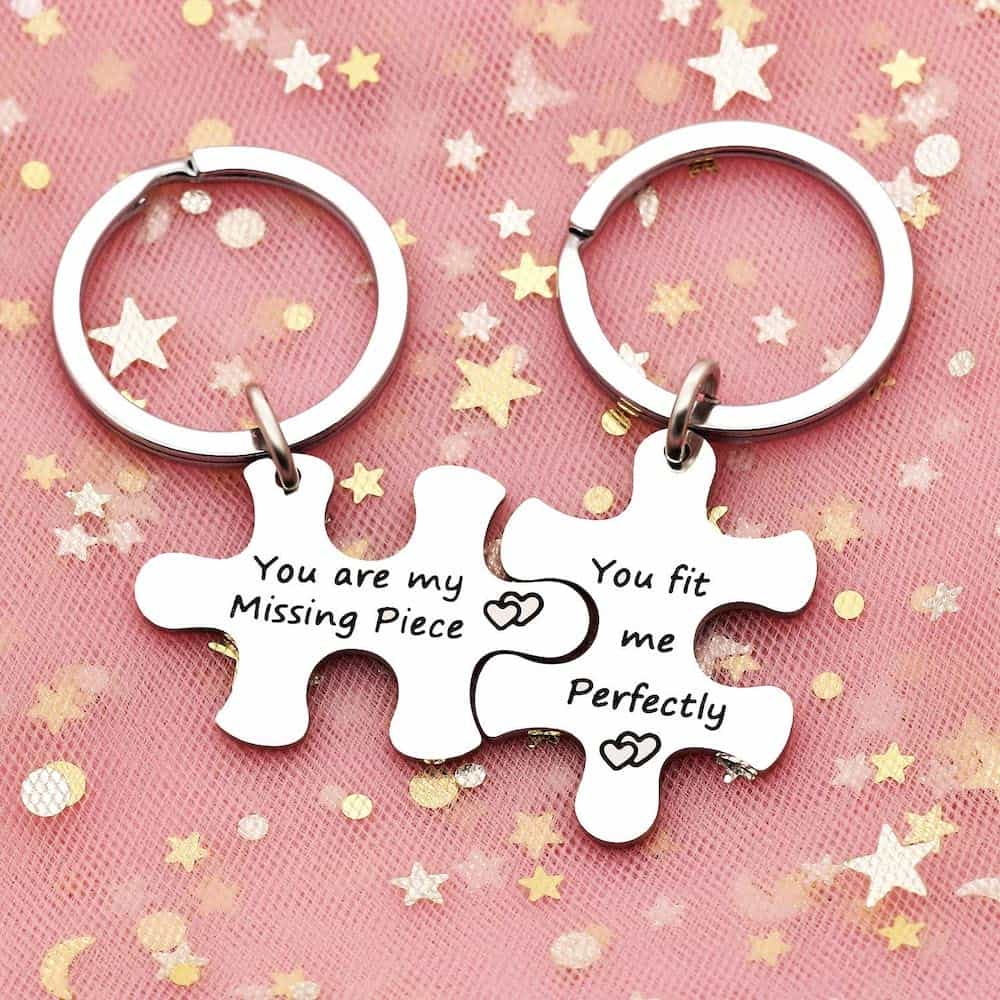 You Are My Missing Piece Silver Keychain