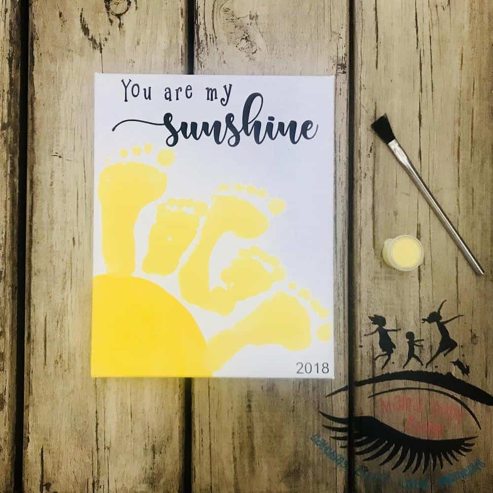 You Are My Sunshine, Toddler Footprint Art For Dad
