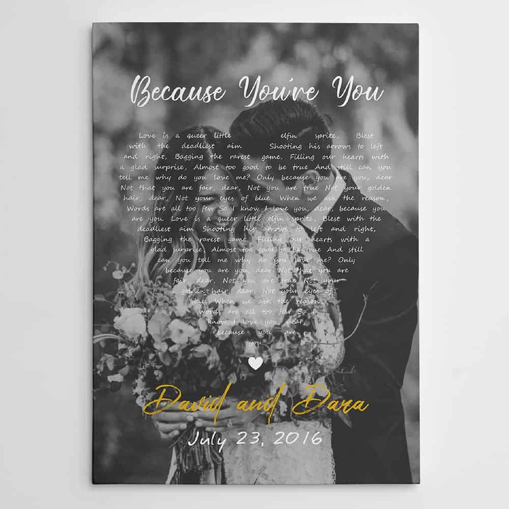 song lyrics canvas with black and white photo