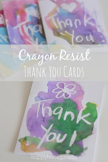 Crayon Resist Thank You Cards For Dad