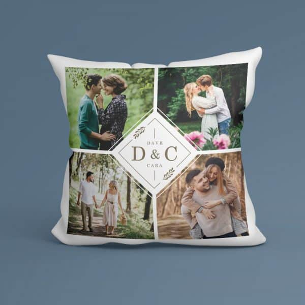 personalized gifts for valentines day: monogram photo pillow