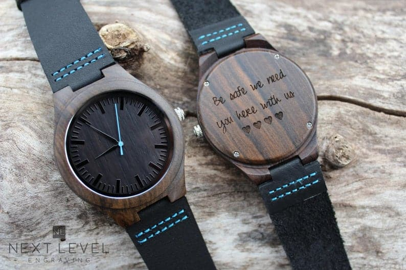 valentines gift ideas for husbands: engraved wooden watch