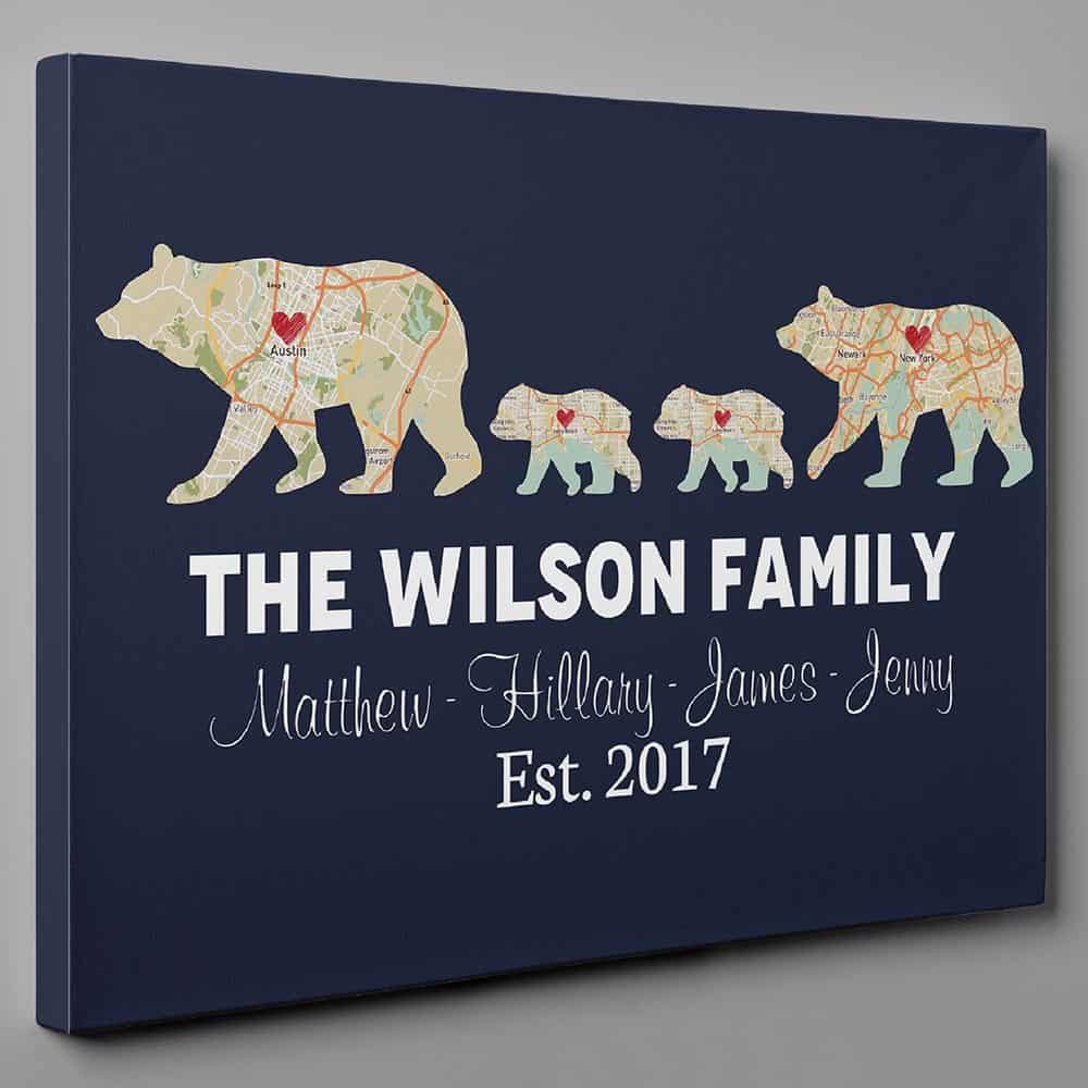 Bear Family Map Wall Art - A personalized Gift for dad from daughter