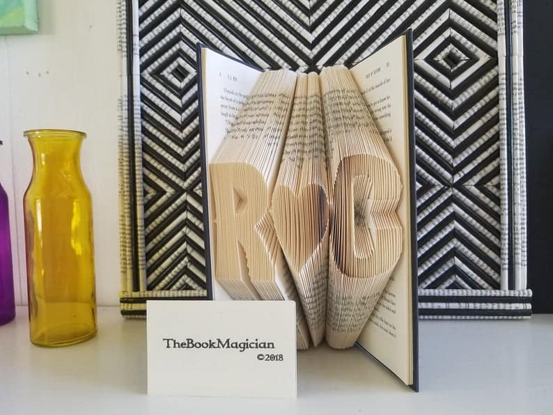 customized valentine gifts: folded book art with initials