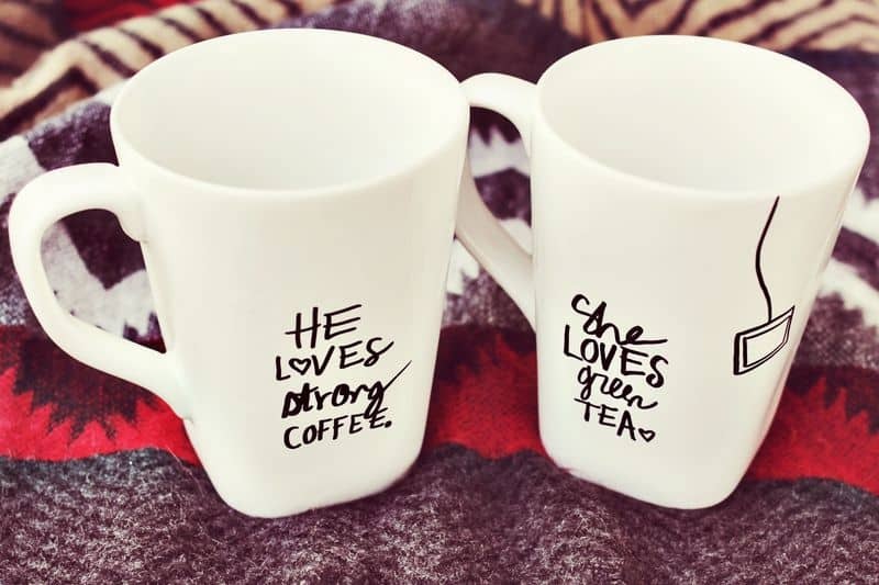valentine gift for husband homemade: his & hers coffee mugs