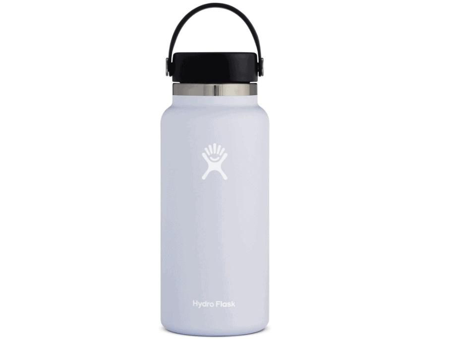 hydro flask water bottle in white